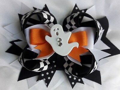 """HALLOWEENBOO GHOSTHairBow 4"""" with alligator clip NWOT"""