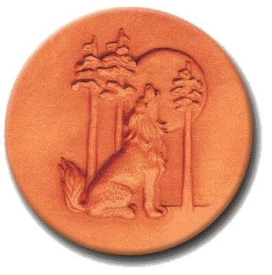 """RYCRAFT 2"""" Round Cookie Stamp with Handle & Recipe Booklet--HOWLING WOLF"""