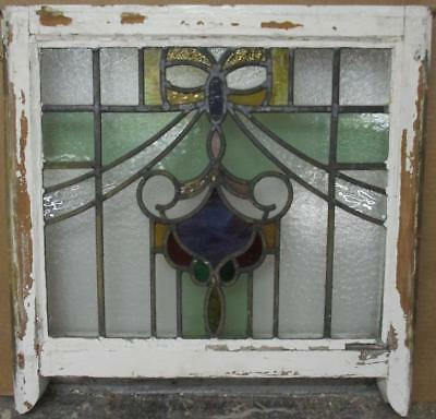 "EDWARDIAN ENGLISH LEADED STAINED GLASS SASH WINDOW Colorful Swag 21.5"" x 19.25"""