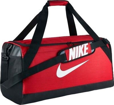 e70199901143 Nike Brasilia 7 MEDIUM Duffel Bag Gym Travel BA5334 657 Red Black White NWT
