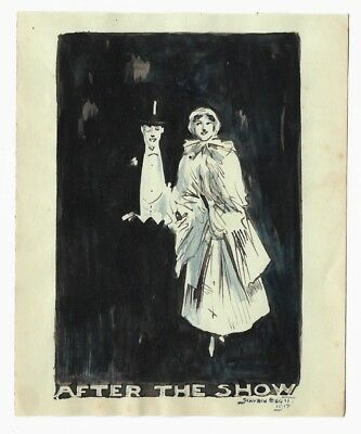 Antique 1917 Art Deco SMALL ORIGINAL WATERCOLOR PAINTING Couple Leaving Theater