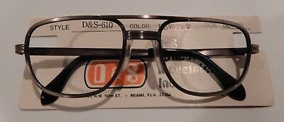 D & S 610 Pewter 52/20 Double Bridge Men's Metal Eyeglass Frame New/Old Stock
