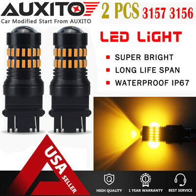2X AUXITO 3157 4157 4057 LED Amber Yellow Turn Signal Blinker Corner Light bulb