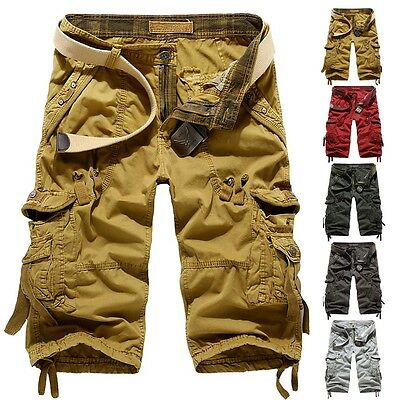 Men Camouflage Combat Overalls Hiking Trousers Cargo Shorts Military Pants