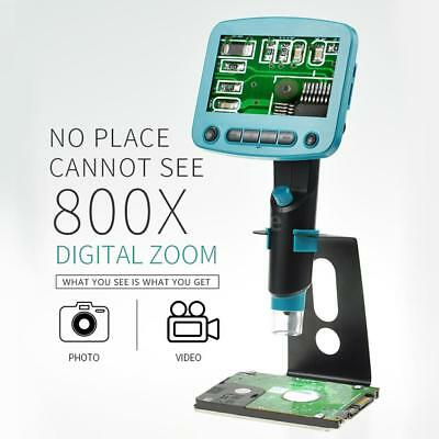 "Digital Microscope HD 800X Magnifier Portable 4.3"" LCD Screen Tool 1080P T6K1"