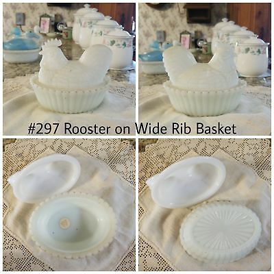 Rooster on Wide Rib Basket Antique/Vintage Milk Glass Covered Dish