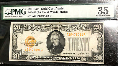 1928 $20 Gold Certificate Fr#2402 Pmg 35 Choice Very Fine