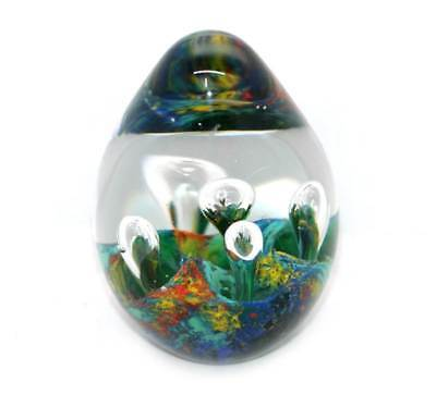 Vintage pretty multicoloured wave egg shape heavy glass paperweight