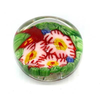 Vintage pretty flowers & leaves heavy glass paperweight