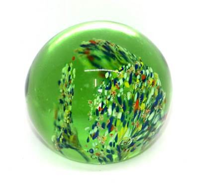 Vintage round heavy glass peacock tails pretty paperweight