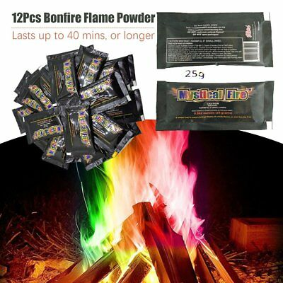 MYSTICAL FIRE 24 pkts Magical Fire Colourful Color changing Flames Campfire F EC
