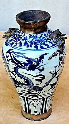 ANTIQUE 18c CHINESE BLUE&WHITE PEWTER LINED DUAL APPLIED DRAGONS AROUND, VASE