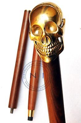 Solid Brass Unique Skull Head Victorian Walking Stick Cane Wooden Cane 36'' Gift