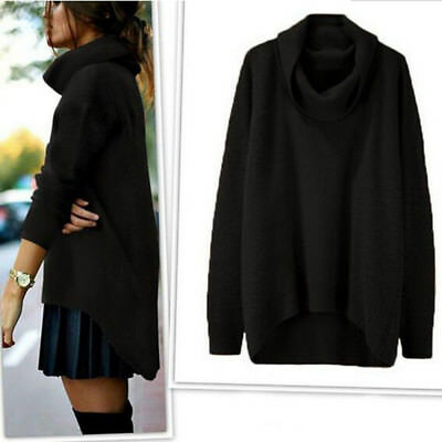 Women Loose Sweater Autumn Winter Knitted Turtleneck Pullover Casual Tops 6A