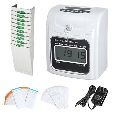 Employee Attendance Punch Time Clock w/ 100 Cards & 10-Pocket Time Card Rack Kit