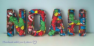 Handmade Fabric Letters name personalised boy Avengers Marvel gift wall bedroom