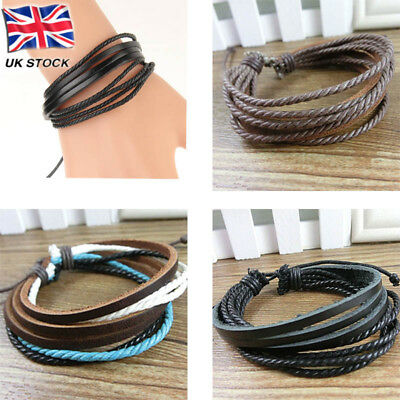 Mens Boys Handmade Leather Braided Surfer Wristband Bracelet Bangle Wrap OFFER