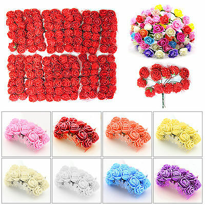144Pcs Fake Rose Heads Artificial Flowers Wedding Bride Hand Flower Party Décor