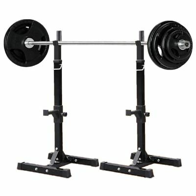 Adjustable Solid Steel Squat Barbell Stand Rack Free Press Bench GYM Pair 180kg