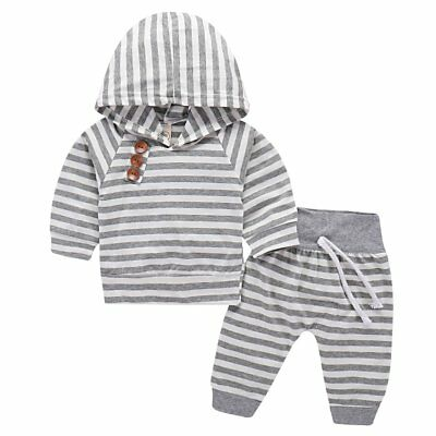 2pcs Newborn Kid Baby Boy Girl Clothes Striped Hooded Tops+Long Pants Outfit Set