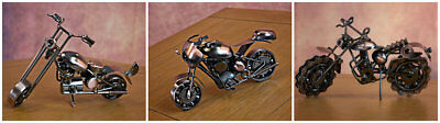 Stylish Hand Made Nuts & Bolts Motorbike Car Sculptures Ornament Christmas Gift