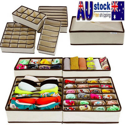 1/4pcs Drawer Closet Bra Socks Organizer Storage Box Container Underwear PATT AU