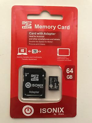64GB  ISONIX Micro SD SDHC Memory Card with Adapter 100MB/s Class 10 UHS-1U1