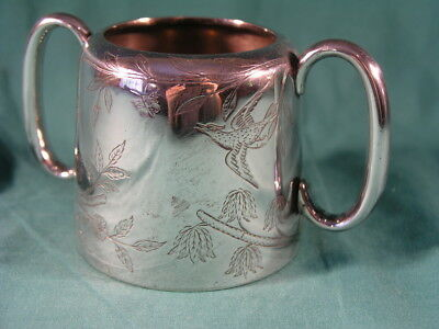 Antique Silver Plated Sugar Bowl by Walker & Hall Engraved Birds Diamond Rd No.