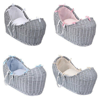 Clair de Lune Soft Waffle Grey Noah Pod Wicker Moses Basket