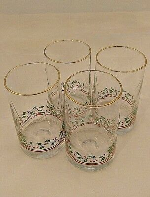 4 Arby's Holly Berry Christmas Holiday Drinking Glasses Vintage 1983 Arbys