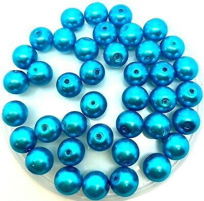 Glass Faux Pearls - Caribbean Blue -  choice of 3mm 4mm 6mm 8mm 10mm 12mm beads
