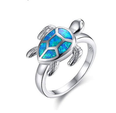 Fashion Silver White Fire Opal dragonfly Ring Bride Wedding Jewelry Size 6-10