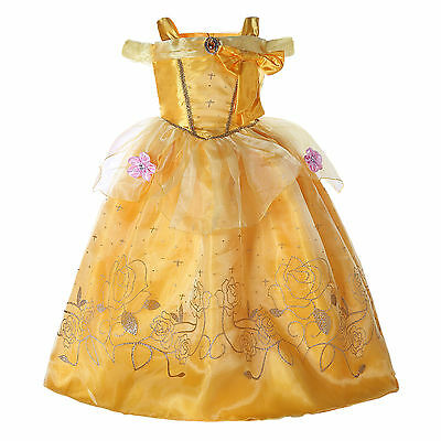 Kids Girls Princess Belle Beauty and the Beast Cosplay Costume Fancy Dress AU