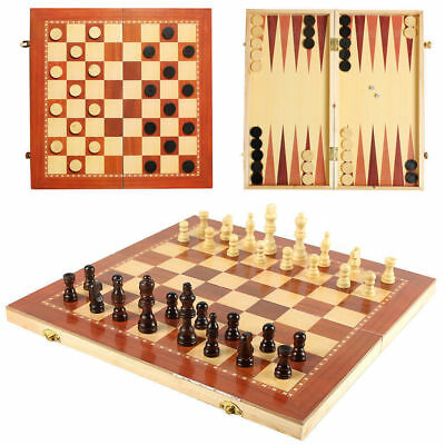 3in1 FOLDING Chess Backgammon Draughts Checkers Set 24 cm x 24cm UK