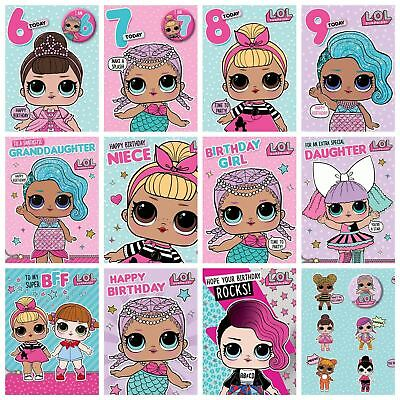 Official LOL Surprise Birthday Cards Dolls Girls Card Party Age Daughter