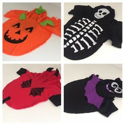 Pet Halloween Costume Outfit CAT XS SMALL DOG Skeleton Pumpkin Bat Devil NEW