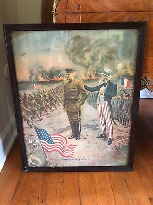 "WW1  ""PERSHING IN FRANCE"" BERLIN OR BUST War Poster Print ~ Free Shipping"