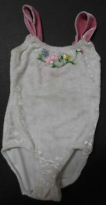 NWOT Smudges Dance Leotard white panne velvet embroidered flowers Xsmall child