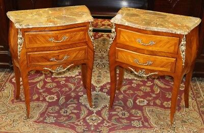 Superb Figural Bronze French Satinwood Marble Top Nigh Stands Tables C1940 MINT!