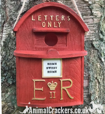 Novelty old red letter post mail box bird house heavy duty easy clean and hang