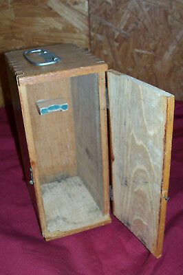 """Vintage Wooden Microscope Box Wood Lab Laboratory Old Instrument Case Antique 8"""""""