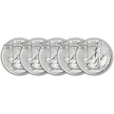 Great Britain Silver Britannia £2 - 1 oz - BU - Five 5 Coins - Random Date