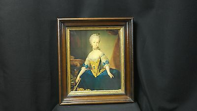 Antique Heavy Walnut Frame with Gilt Liner & Giclee Print of 18th Century Woman