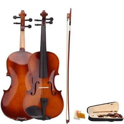 4/4 Full Size Natural Acoustic Violin Fiddle With Case Bow Rosin Basewood Body