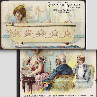 "Risque STD Bathtub ""She Plays Nicely"" Metamorphic Dandruff Hair Cure Trade Card"