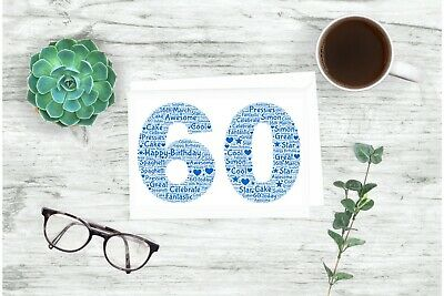 Personalised 60th Word Art Birthday Card Son FriendUncle DadBrother