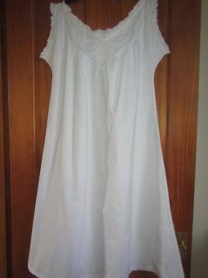 Short Antique Nightdress Cotton Embroidered Detail