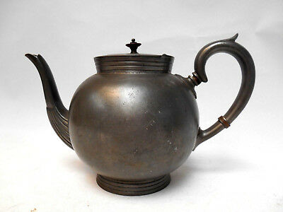Pewter Round Bellied Antique Teapot