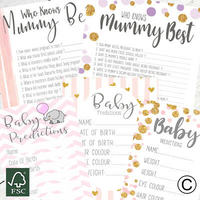 Baby Shower Games For Girls Prediction Cards Who Knows Mummy Best Advice Card