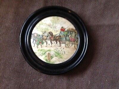 antique pratt ware style lid in frame